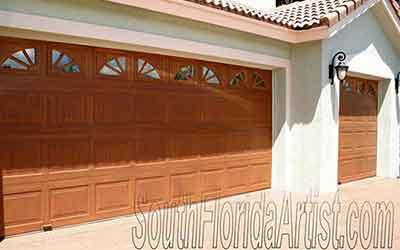Wood grained garage door