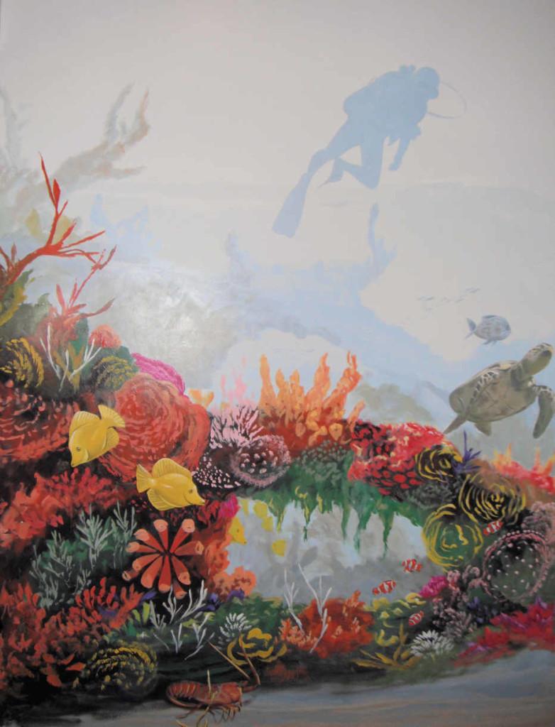 Underwater murals - Snorkler in the reef