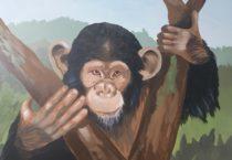 monkey mural detail